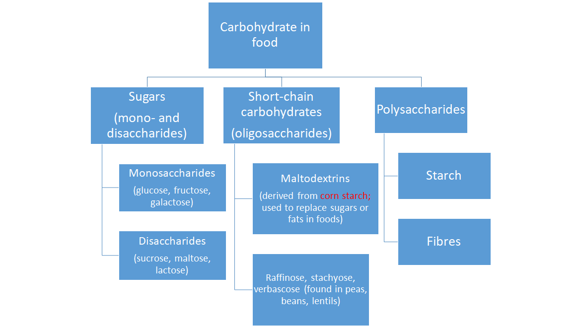 Carbohydrates include sugars, starches, oligosaccharides, and fibres